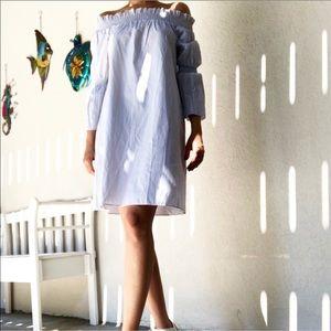 Pinstripe Off Shoulder Dress